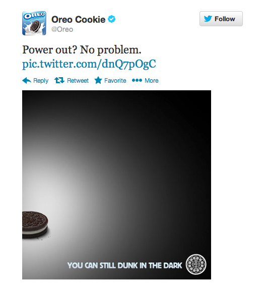 Oreo social media Super Bowl tweet