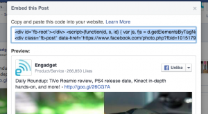 Facebook Page Embed Post